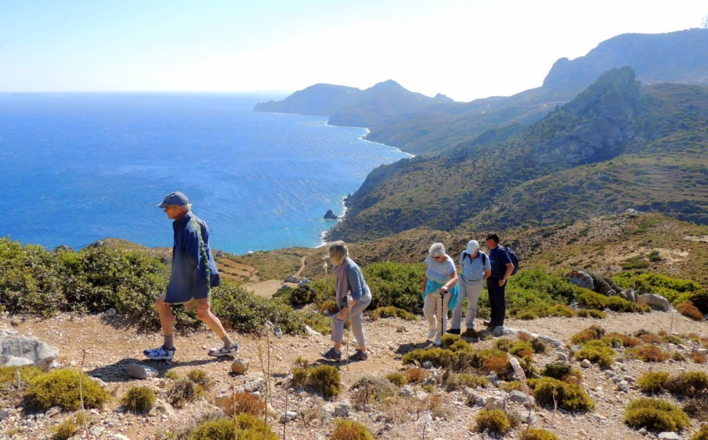 A group of 5 Tower House guests on a walking tour of Kefalos Peninsular on Kos