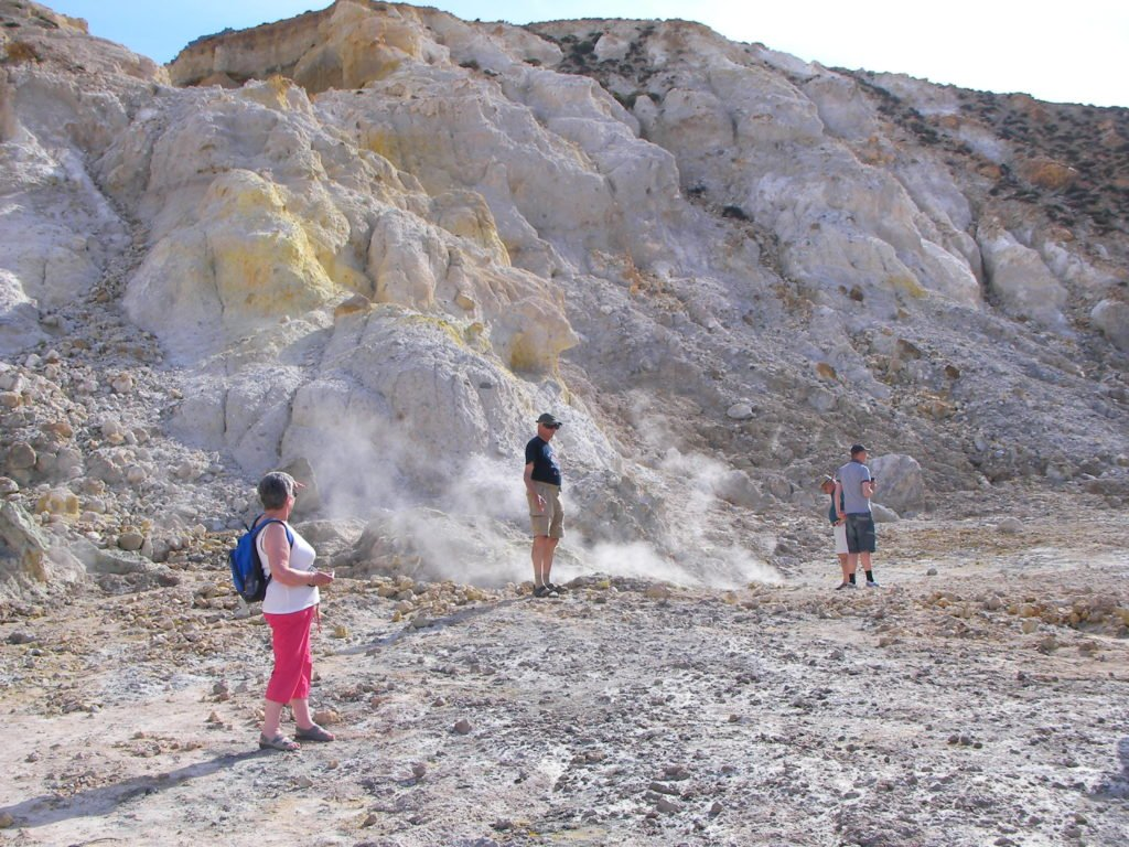 The crater floor is very hot. Look out for the steam holes.