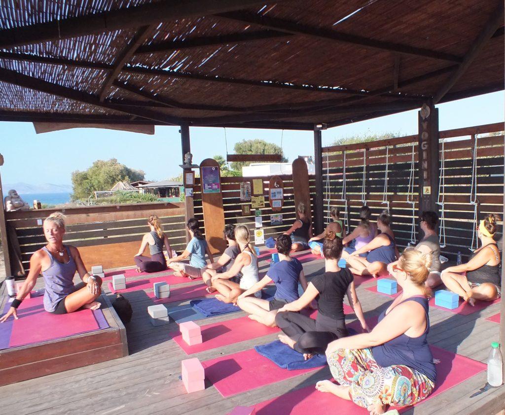 Yoga class at LynnYannYoga centre on Kos