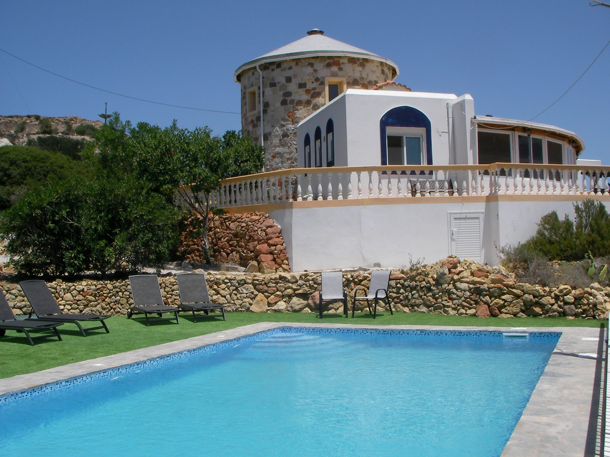 The Tower House in Kos with it's pool in the foreground