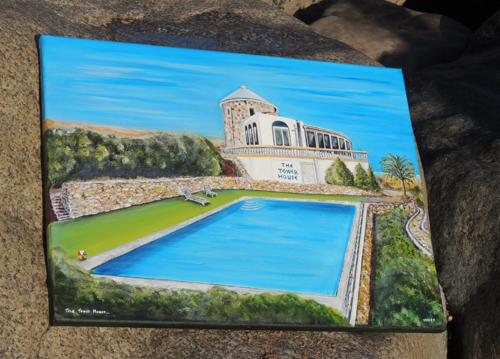 Painting of The Tower House and pool by Art&Soul