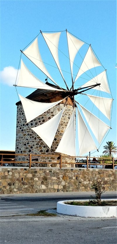 Front view of andimaxia windmill with sails up