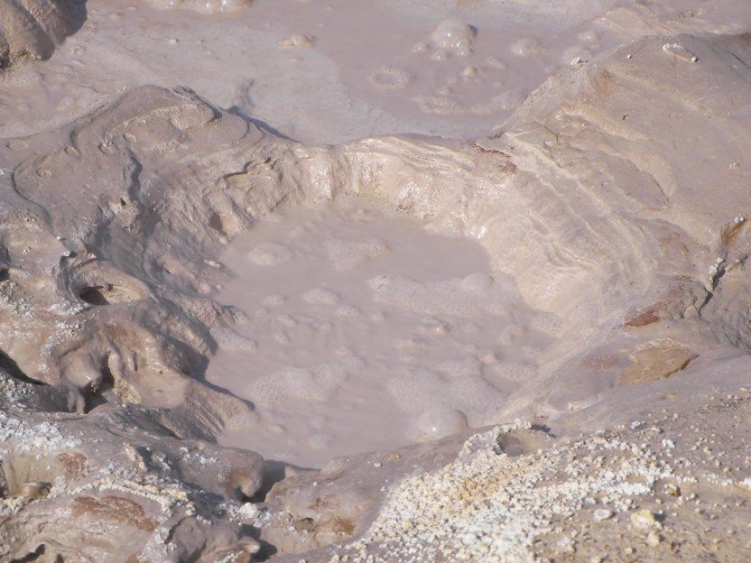 A mud geyser in the volcano crater on Nissyros