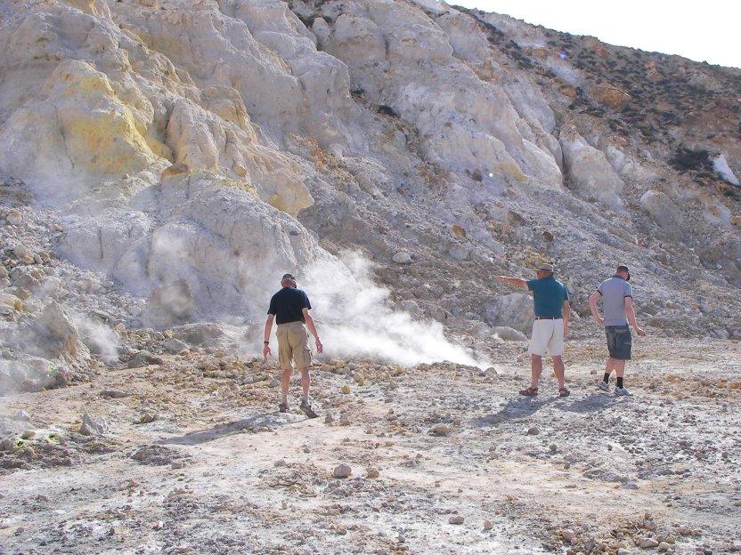 Walking in an active volcano