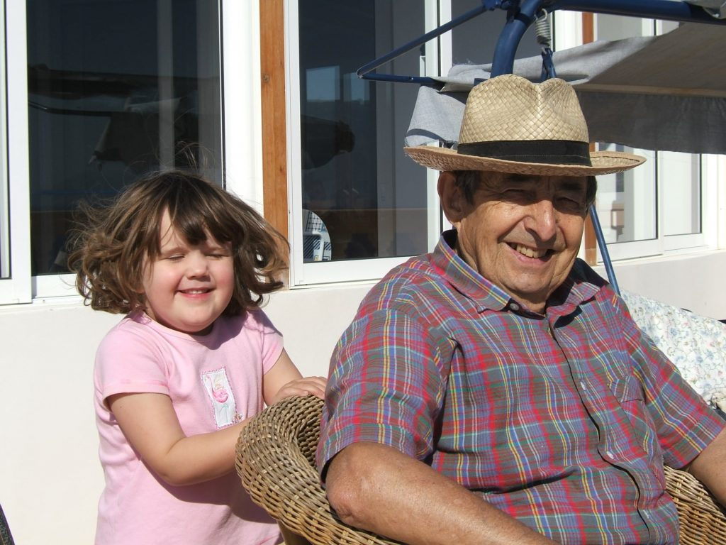 A grandfather and grandaughter at The Tower House
